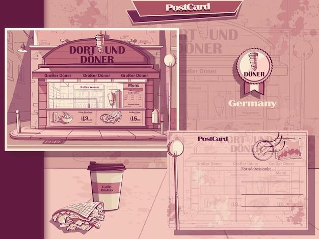 Tarjeta postal y folleto de café en dortmund, alemania. imagen de cebolla doner kebab, agua, café de comida rápida.
