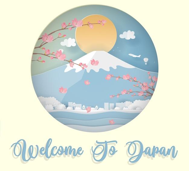 Tarjeta postal y póster de viaje de japón