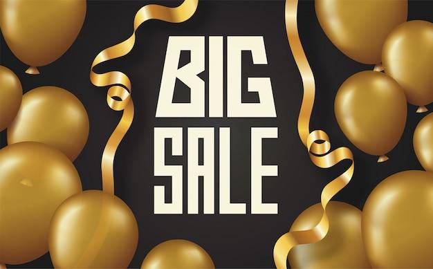 Tarjeta de póster de letras de gran venta con globos dorados brillantes y cinta curva sobre fondo negro