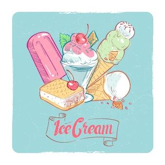 Tarjeta de postre vintage de banner de helado de grunge