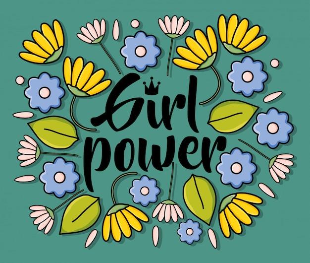Tarjeta power girl con decoración floral