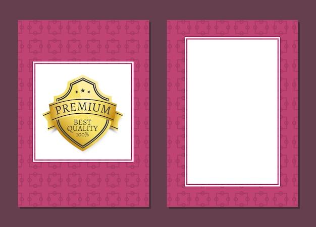 Tarjeta con premio a la calidad premium