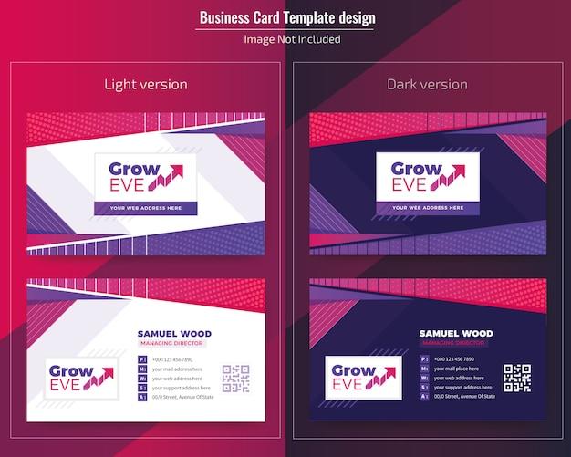 Tarjeta de presentación abstracta diseño oscuro y ligero