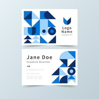 Tarjeta de presentación clásica con formas azules
