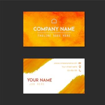Tarjeta de presentación con diseño naranja