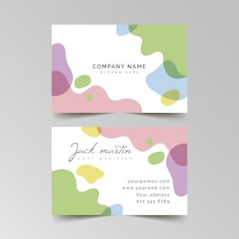 Tarjeta de presentación con información y colores pastel.