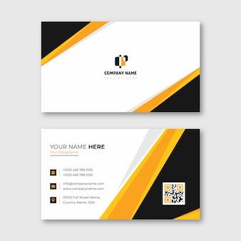 Tarjeta de presentación naranja y amarilla para uso comercial y personal.