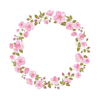 Tarjeta de primavera con flores de sakura