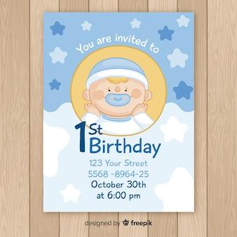 Tarjeta primer cumpleaños bebé niño dibujado a mano
