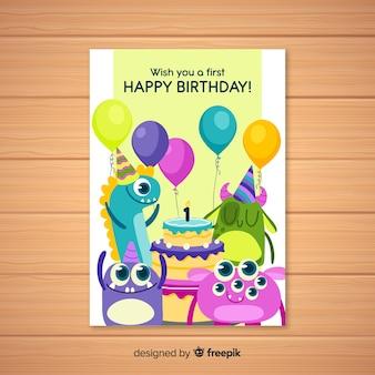 Tarjeta de primer cumpleaños con monstruos