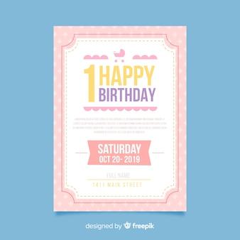 Tarjeta primer cumpleaños plana simple