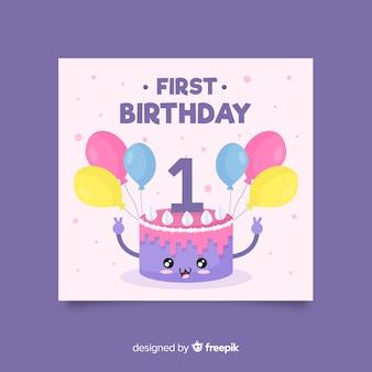 Tarjeta primer cumpleaños tarta mona