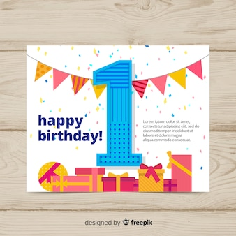 Tarjeta de primer cumpleaños