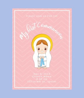 Tarjeta de primera comunión con dibujos animados de santa maría