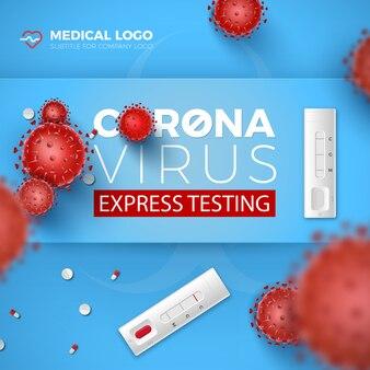 Tarjeta de prueba de coronavirus express. pruebas rápidas covid-19 y células de virus rojos 3d sobre fondo azul. enfermedad por coronavirus 2019, diseño de ilustración de análisis de sangre.