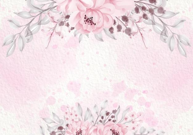 Tarjeta púrpura rosa pastel con flores silvestres, hojas verdes, ilustración de marco