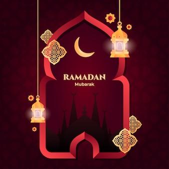 Tarjeta de ramadán mubarak
