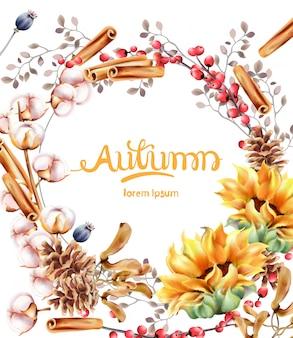Tarjeta de ramo de flores de otoño