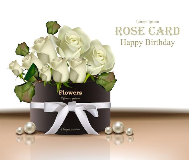 Tarjeta del ramo de flores de rosas blancas