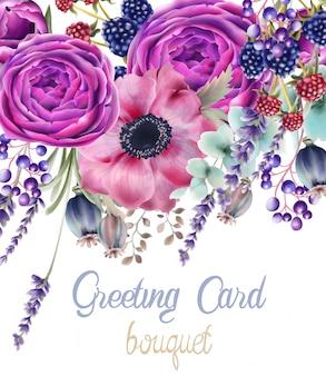 Tarjeta de ramo de flores rosas de otoño