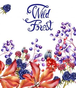 Tarjeta de ramo de frutas del bosque salvaje
