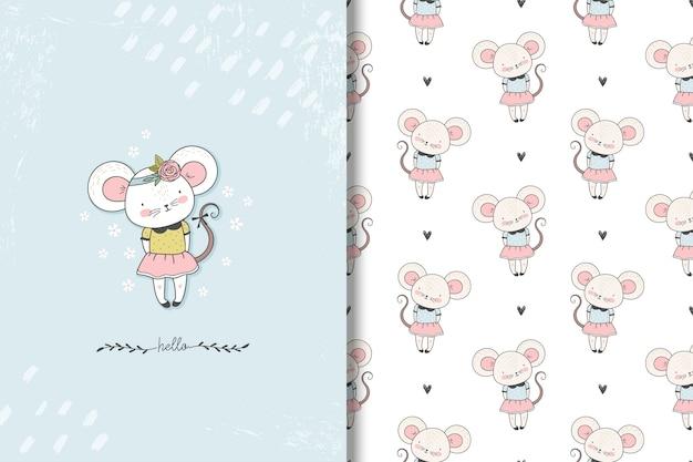 Tarjeta de ratoncito y patrón transparente.