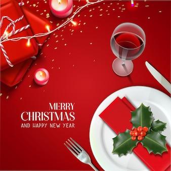 Tarjeta realista de navidad y año nuevo
