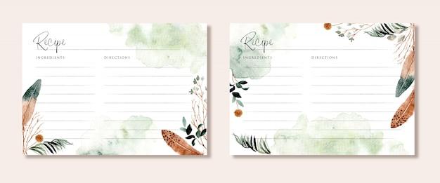 Tarjeta de recetas con ramas rústicas y plumas de acuarela