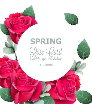 Tarjeta redonda de rosas rojas