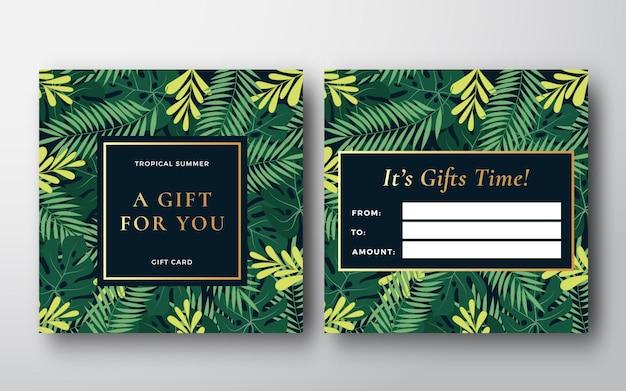 Tarjeta de regalo abstracta de hojas de bosque tropical