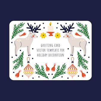 Tarjeta de regalo con ciervos, juguetes de árbol de navidad, velas y decoración de tiza sobre un fondo blanco. diseño de invierno.