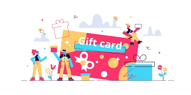 Tarjeta de regalo y estrategia de promoción, cupón de regalo, cupón de descuento y concepto de certificado de regalo. ilustración de concepto aislado con personas pequeñas y elementos florales. imagen de héroe para el sitio web.