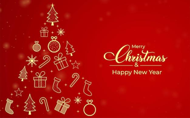 Tarjeta de regalo de feliz navidad con elementos dorados. árbol de navidad con adornos dorados. elementos del árbol. banner de redes sociales con elementos de árbol dorado sobre un fondo rojo. banner de navidad.