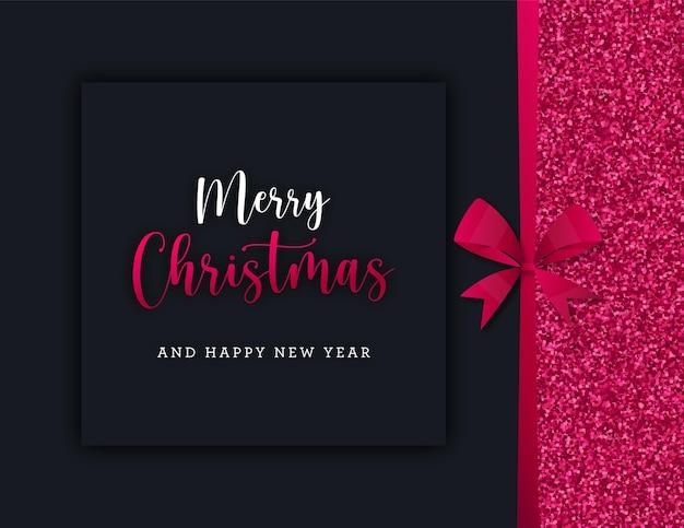 Tarjeta de regalo de feliz navidad con lazo y purpurina.