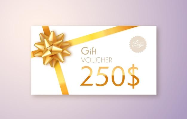 Tarjeta regalo con lazo y cinta dorada