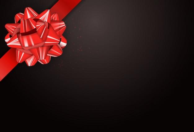 Tarjeta de regalo con lazo y cinta ilustración vectorial