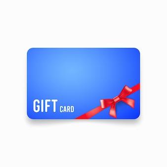 Tarjeta de regalo con lazo rojo y cinta ilustración
