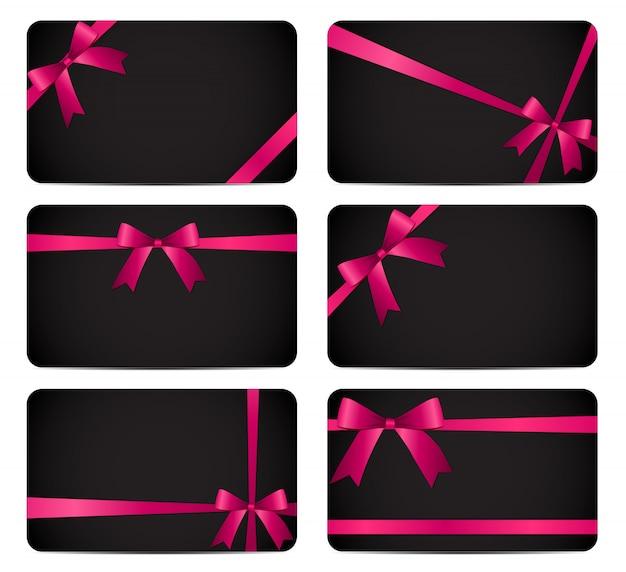 Tarjeta de regalo con lazo rosa y lazo.