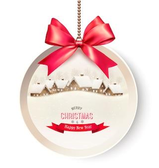 Tarjeta de regalo navideña con un fondo navideño y una cinta de regalo roja.