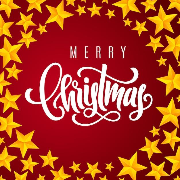 Tarjeta de regalo navideña con letras doradas a mano feliz navidad y estrellas