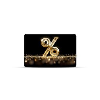 Tarjeta de regalo o descuento de oro con signo de porcentaje aislado en blanco
