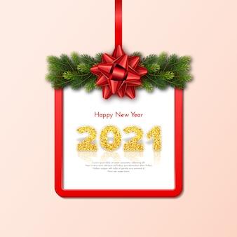 Tarjeta de regalo de vacaciones feliz año nuevo con guirnalda de ramas de abeto, marco rojo y lazo
