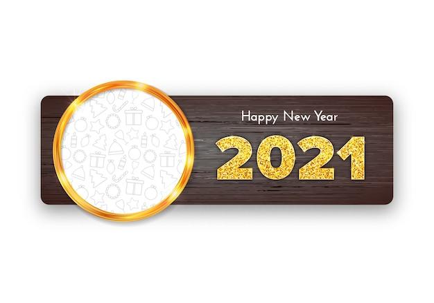 Tarjeta de regalo de vacaciones feliz año nuevo sobre fondo de madera. marco dorado con fondo de iconos