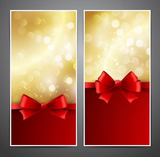 Tarjeta de regalo de vector con lazo rojo y cinta
