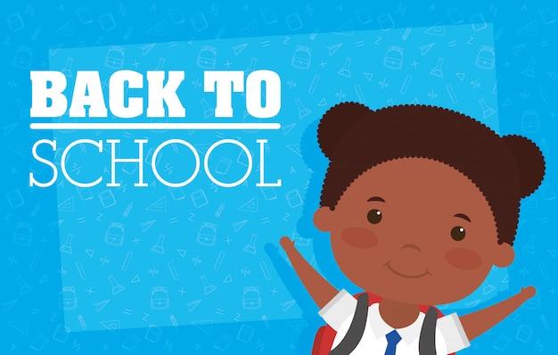 Tarjeta de regreso a la escuela con chica afro estudiante