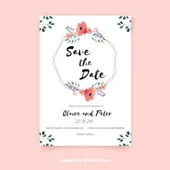 Tarjeta de reserva la fecha con flores en estilo acuarela