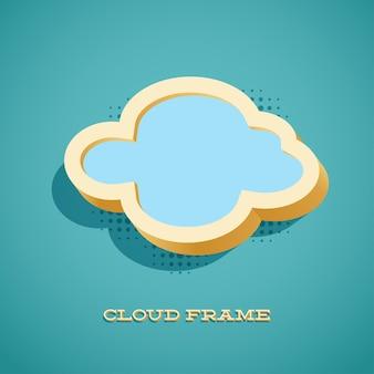 Tarjeta retro con signo de nube