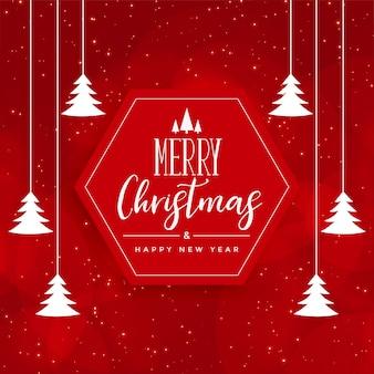 Tarjeta roja feliz festival de navidad con decoración de árbol