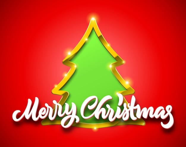 Tarjeta roja de feliz navidad con letras caligráficas dibujadas a mano y letrero de abeto verde con borde dorado, sombras y destellos