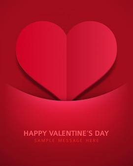 Tarjeta romántica de corte de papel en forma de corazón para el día de san valentín